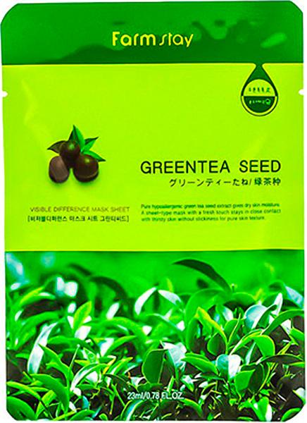 FarmStayТканевая маска с натуральным экстрактом семян зеленого чая, 23 г маска д лица подтягивающая с коллагеном и экстрактом зеленого чая тканевая основ1шт 23мл 24шт sl 211