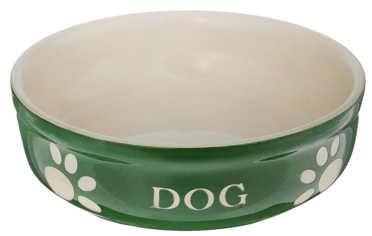 Миска для собак Nobby Dog, цвет: зеленый, светло-бежевый, 130 мл73315Миска для собак Nobby Dog выполнена из керамики, покрытой глазурью. Внешние стенки дополнены рельефными рисунками и надписями. Миска достаточно тяжелая, поэтому не будет скользить по полу. Прекрасно подойдет для собак мелких пород. Диаметр миски: 12 см. Высота миски: 3,5 см.