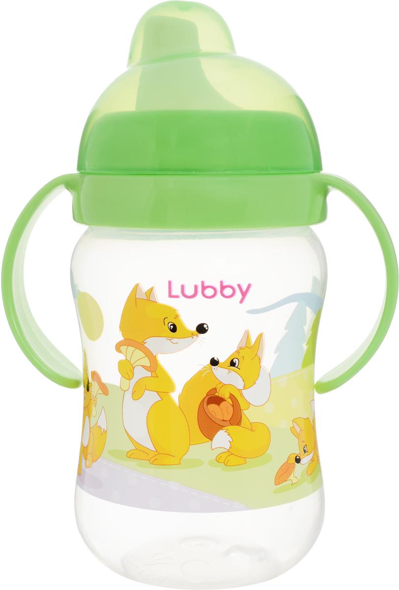 Lubby Поильник-непроливайка Веселые животные от 6 месяцев цвет салатовый 250 мл