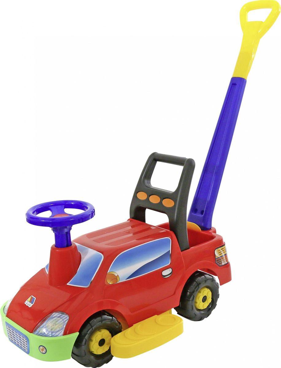Полесье Каталка Пикап с ручкой цвет в ассортименте63038Автомобиль-каталка Полесье Пикап изготовлен из прочной качественной пластмассы. Автомобиль-каталку удобно мыть, поэтому его можно использовать для катания на улице. У автомобиля-каталки есть съёмная ручка и педали, которые блокируют поворот руля для безопасности ребёнка. Кода ребёнок будет постарше и сможет ездить на автомобиле-каталке самостоятельно, педали и ручку можно снять с автомобиля.