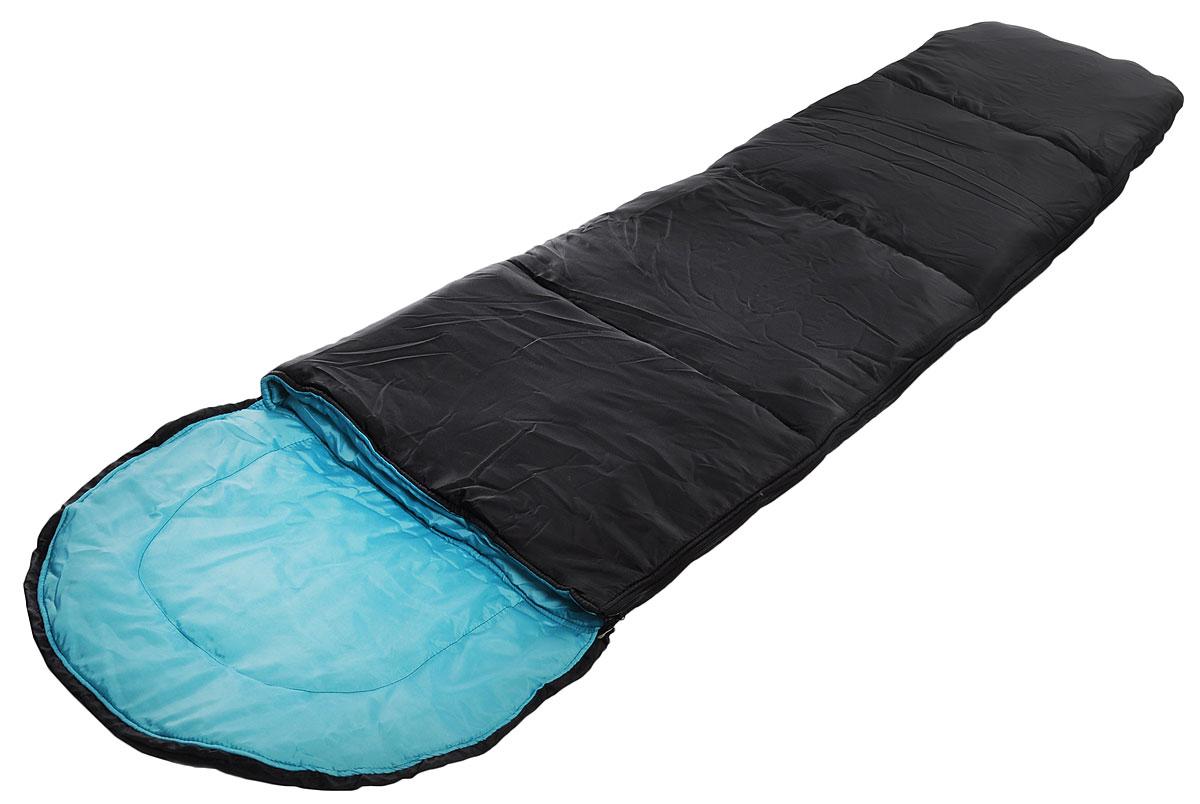 Спальный мешок Onlitop Кокон, цвет: черный, бирюзовый, правосторонняя молния. 1313768 мешок спальный onlitop богатырь правосторонняя молния цвет хаки 225 х 105 см