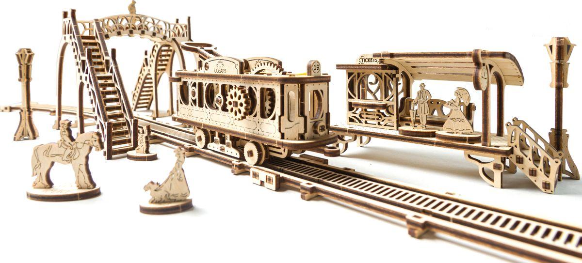 Ugears Сборная деревянная модель Трамвайная линия ugears сборная деревянная модель лошадка качелька