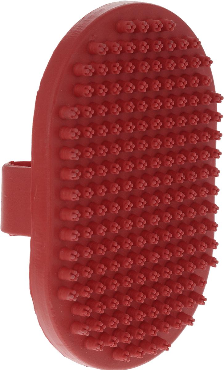 Щетка для собак Nobby, цвет: красный, 13 х 9 см. 72640 щетка для животных каскад на руку цвет красный 12 5 х 7 5 см