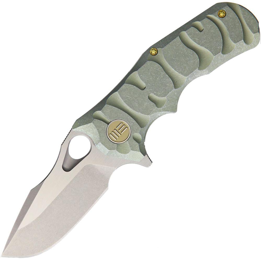 Нож складной We Knife, цвет: зеленый, длина клинка 74 мм