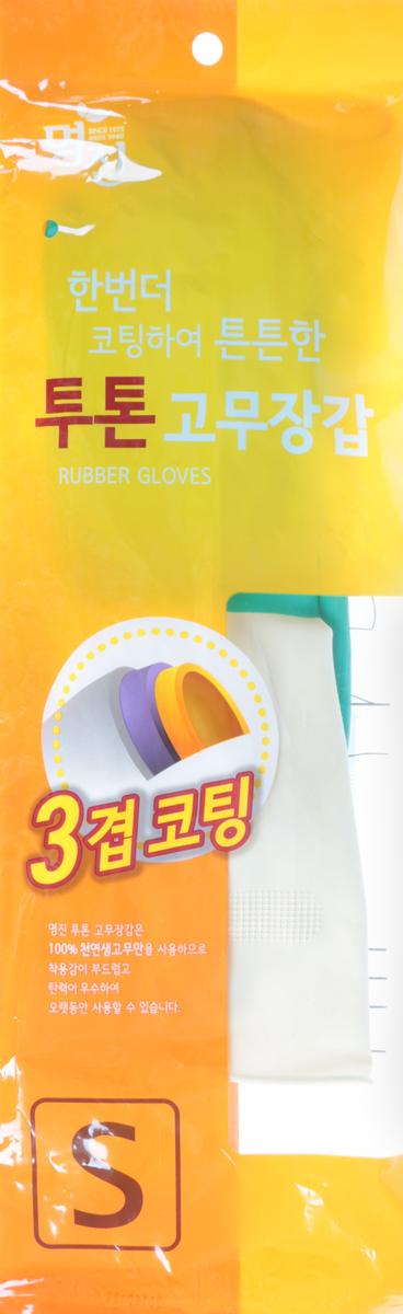 Перчатки хозяйственные MYUNGJIN / латексные, двухцветные, размер: S. H2, арт. 465448