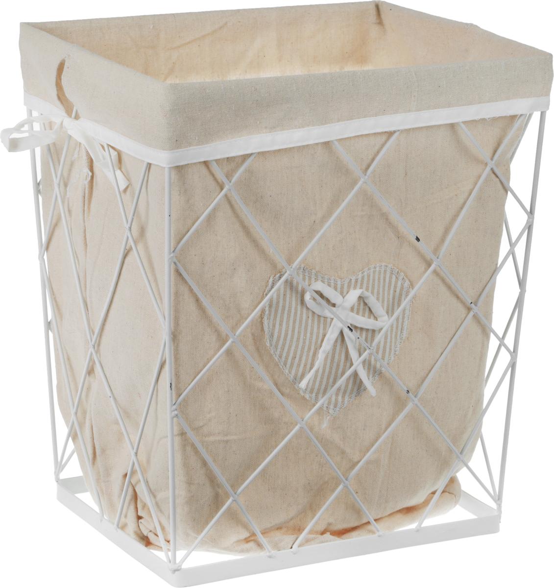 Корзина для белья Handy Home Решетка, цвет: белый, 35 х 24 х 40 см корзина для белья natural house лаванда высокая цвет белый 48 х 36 х 55 см