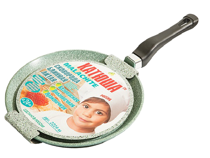 Сковорода блинная Катюша Малахит, литая, с антипригарным покрытием. Диаметр 26 см цена