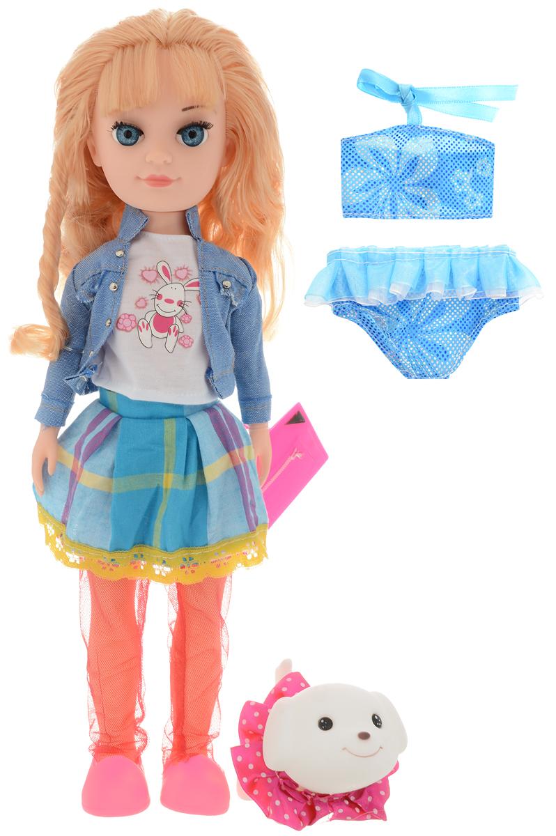 Belly Игровой набор с куклой Яркие наряды 37 см1602AИгровой набор Belly Яркие наряды непременно понравится вашей девочке! В наборе представлена кукла, ее любимый питомец, собачка, купальник, сумочка. Куколка одета в белую футболку с рисунком, клетчатую юбку, джинсовую куртку, лосины в сеточку и туфельки. Светлые длинные волосы куклы заплетены в хвостик. Такая прическа делает куколку очаровательной, а длинные реснички делают взгляд более выразительным. У куклы подвижны руки, ноги, голова, что позволяет придавать ей любые позы во время игры с ней. При желании куколку можно переодеть в купальный костюм. Выразительный внешний вид куколки и аккуратное исполнение, делают такой набор идеальным подарком для любой девочки!
