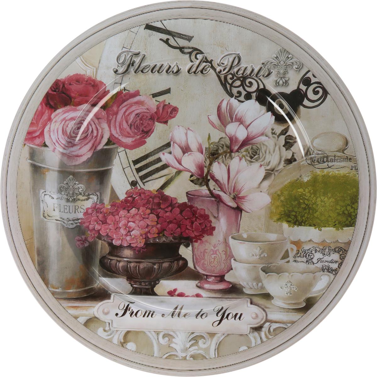 """Поднос Gift'n'Home """"Парижские цветы"""", диаметр 33 см"""