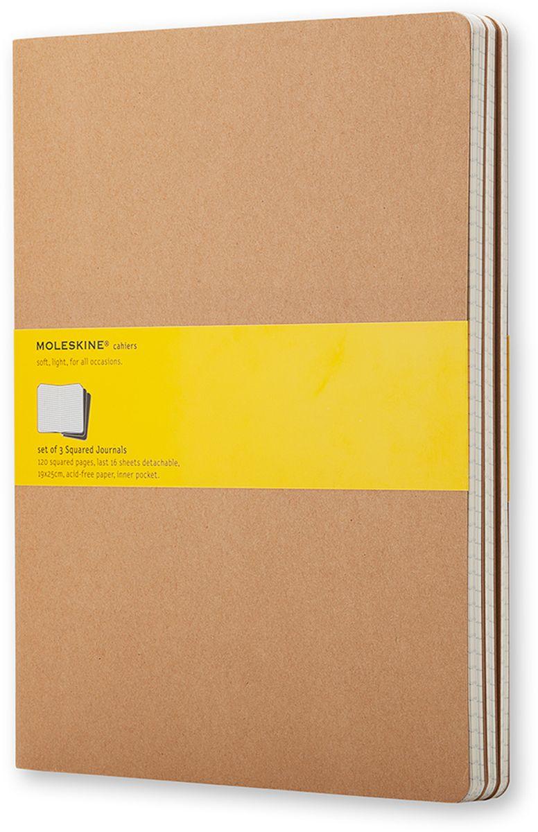 Moleskine Набор записных книжек Cahier Xlarge 60 листов в клетку цвет бежевый 3 шт
