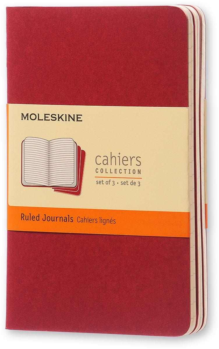 Moleskine Набор записных книжек Cahier Pocket 32 листа в линейку цвет клюквенный 3 шт