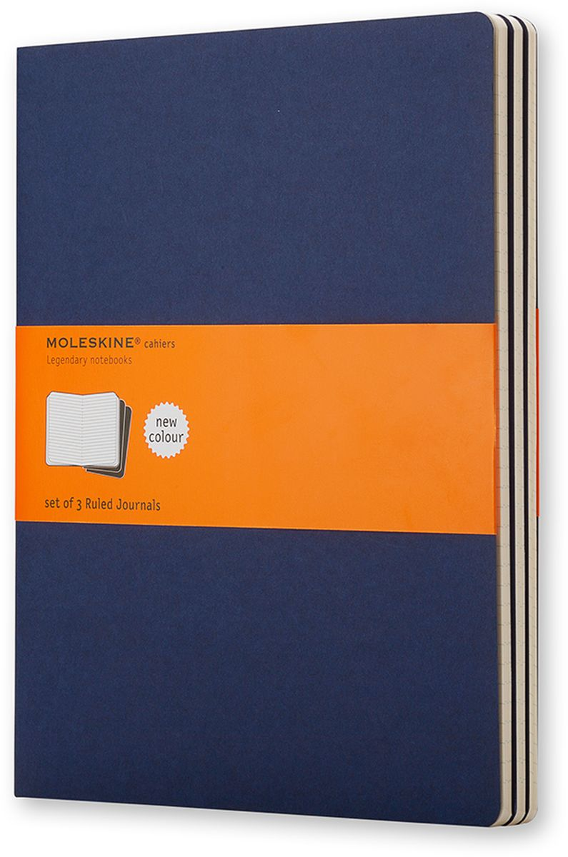 Moleskine Набор записных книжек Cahier Xlarge 60 листов в линейку цвет темно-синий 3 шт