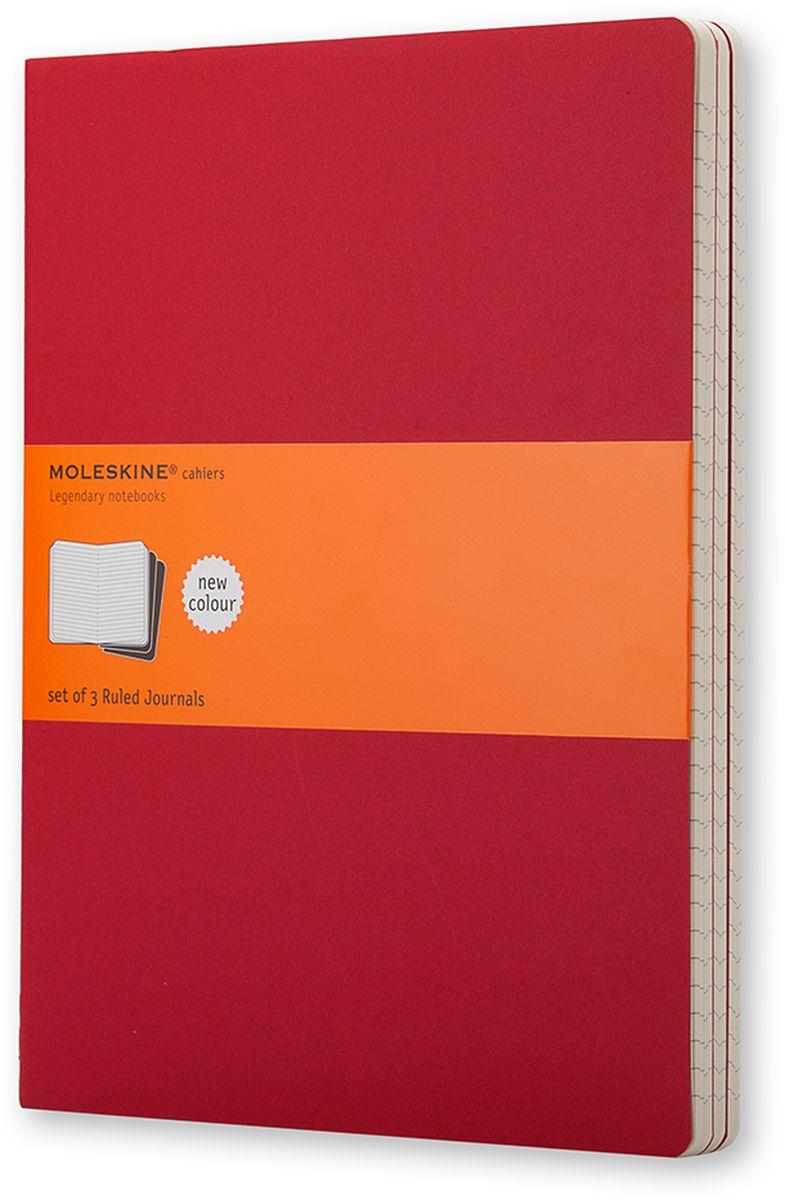 Moleskine Набор записных книжек Cahier Xlarge 60 листов в линейку цвет клюквенный 3 шт