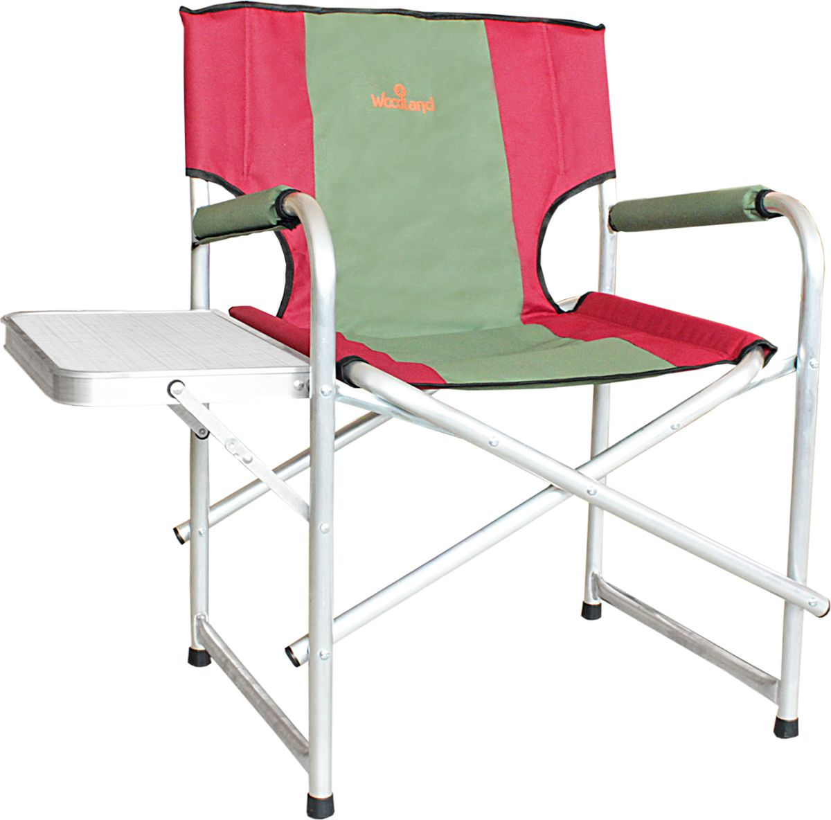 Кресло складное Woodland Super Max+, со столиком, цвет: красный, оливковый, 55 x 62 x 63 см кресло woodland ck 100 comfort складное кемпинговое 54 x 54 x 98 см сталь