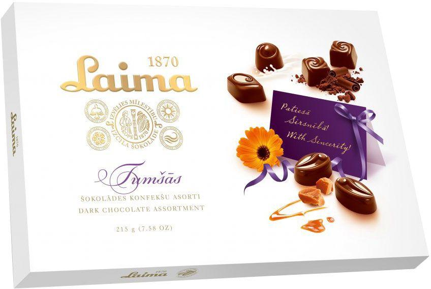 Laima Ассорти конфет в темном шоколаде, 215 г кремлина московские тайны ассорти из фруктов в шоколаде 240 г