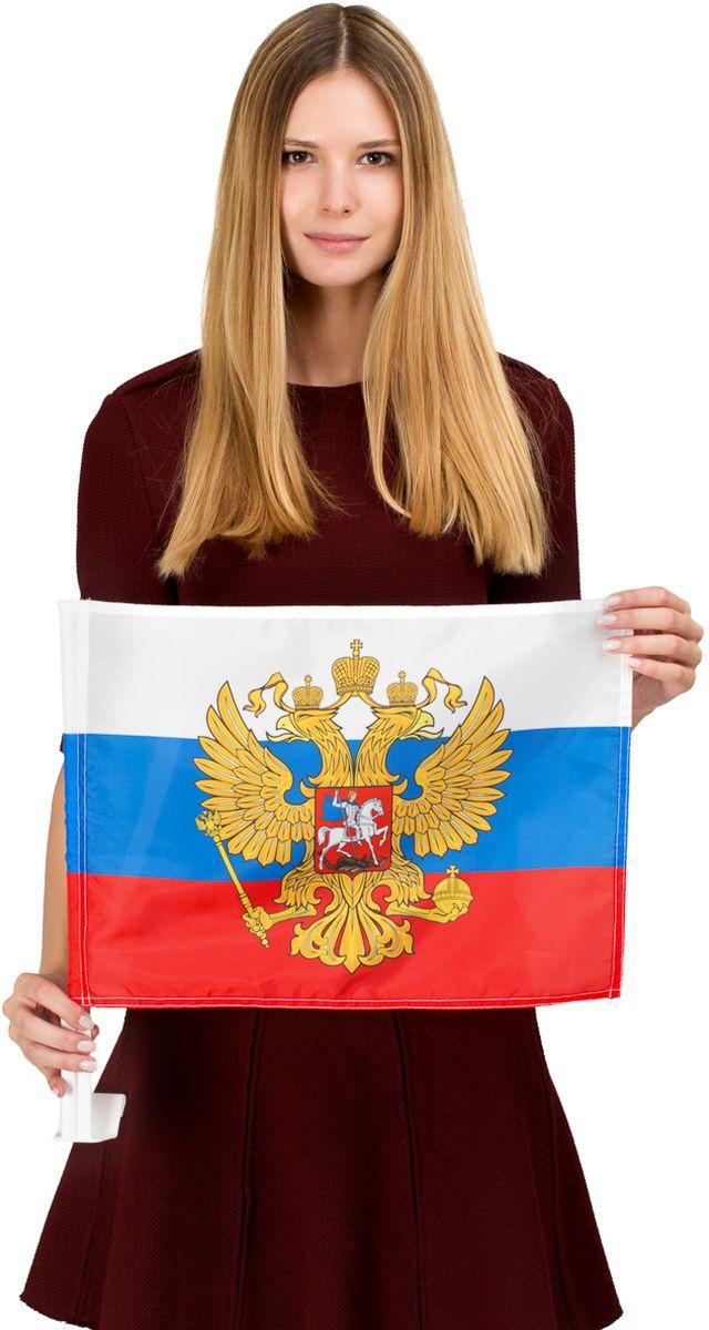 Флаг автомобильный РусФлаг Россия с гербом, двухсторонний, 30 х 40 см автомобильный пылесос proffi c 3 мя насадкам удлинителем шланга флаг страны россия 70х105 см оранжевый