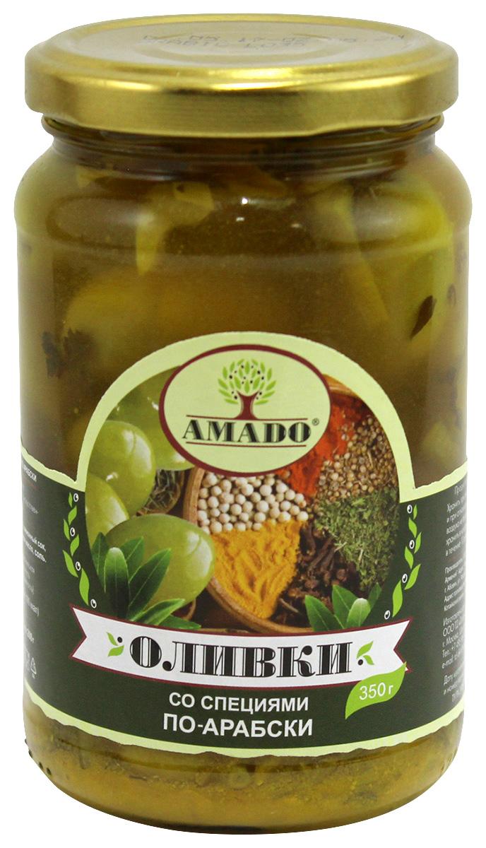 цены на Amado зеленые оливки с косточкой со специями по-арабски, крупные, 350 г  в интернет-магазинах