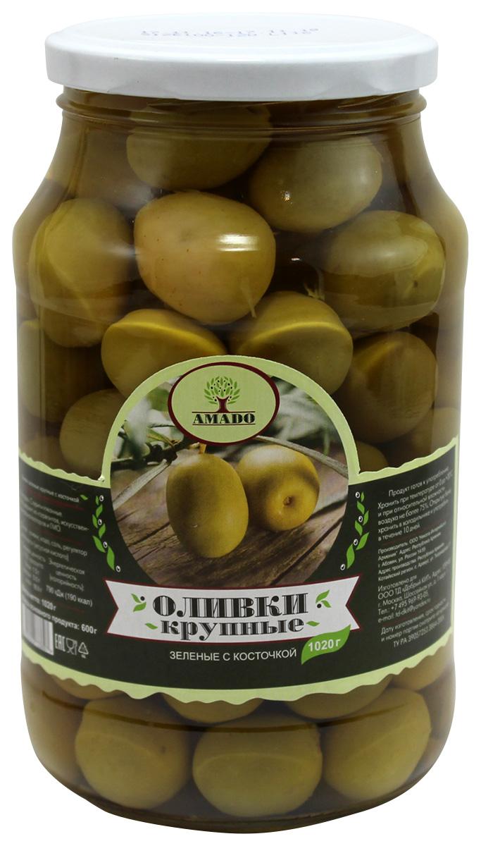 Amado зеленые оливки с косточкой, крупные, 1,02 кг guerola оливки зеленые сорта кампо реал с косточкой 2 25 кг