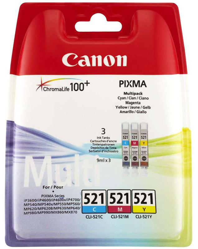 Картридж Canon CLI-521, голубой, пурпурный, желтый, для струйного принтера, оригинал