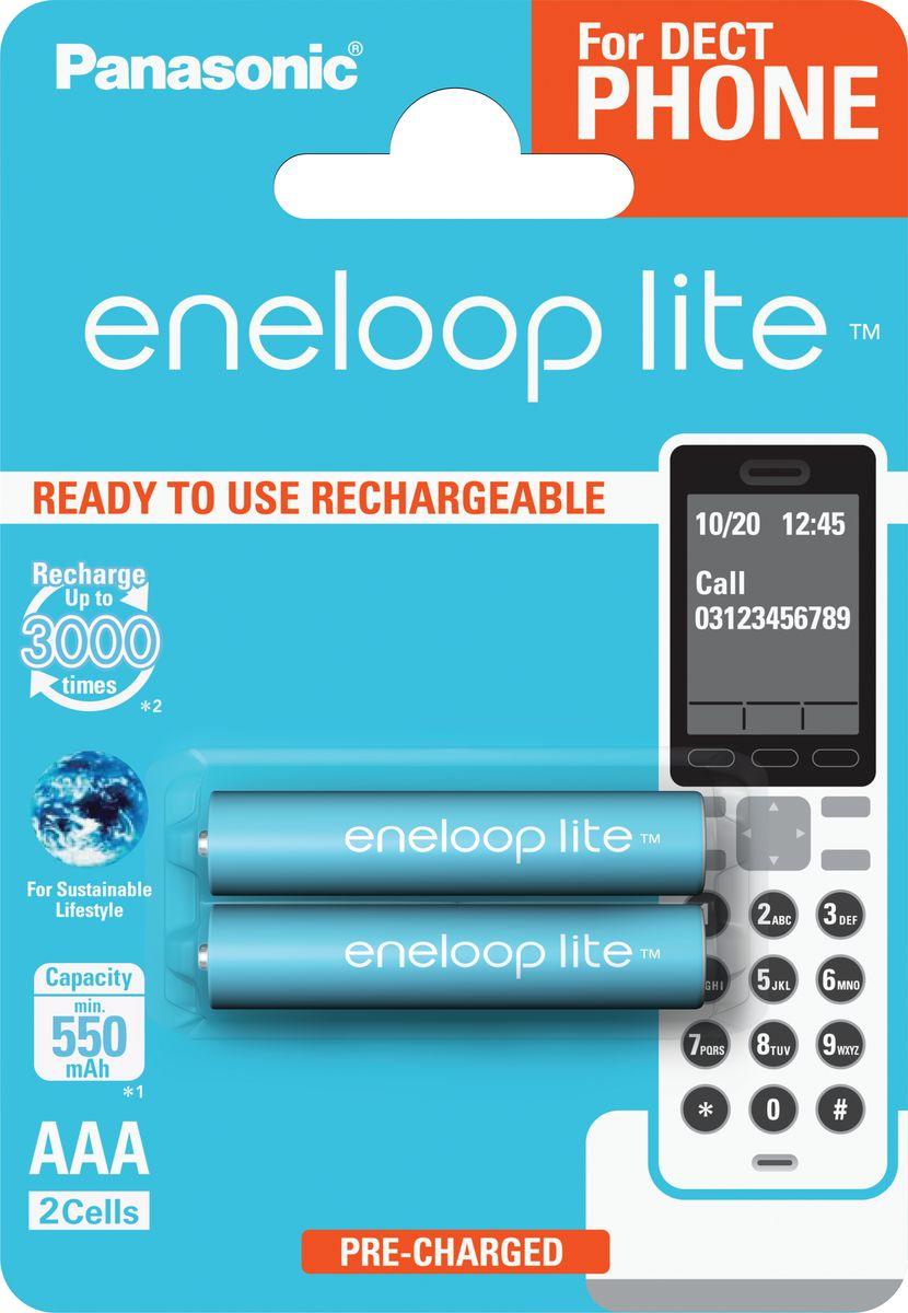 Аккумулятор Panasonic Eneloop, тип AAA, DECT Lite Ni-MH 550 мАч, 2 шт базовая станция dect zyxel keenetic plus dect