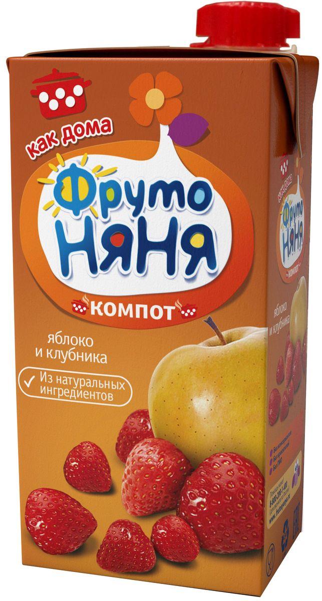 ФрутоНяня компот из яблок и клубники, 0,5 л