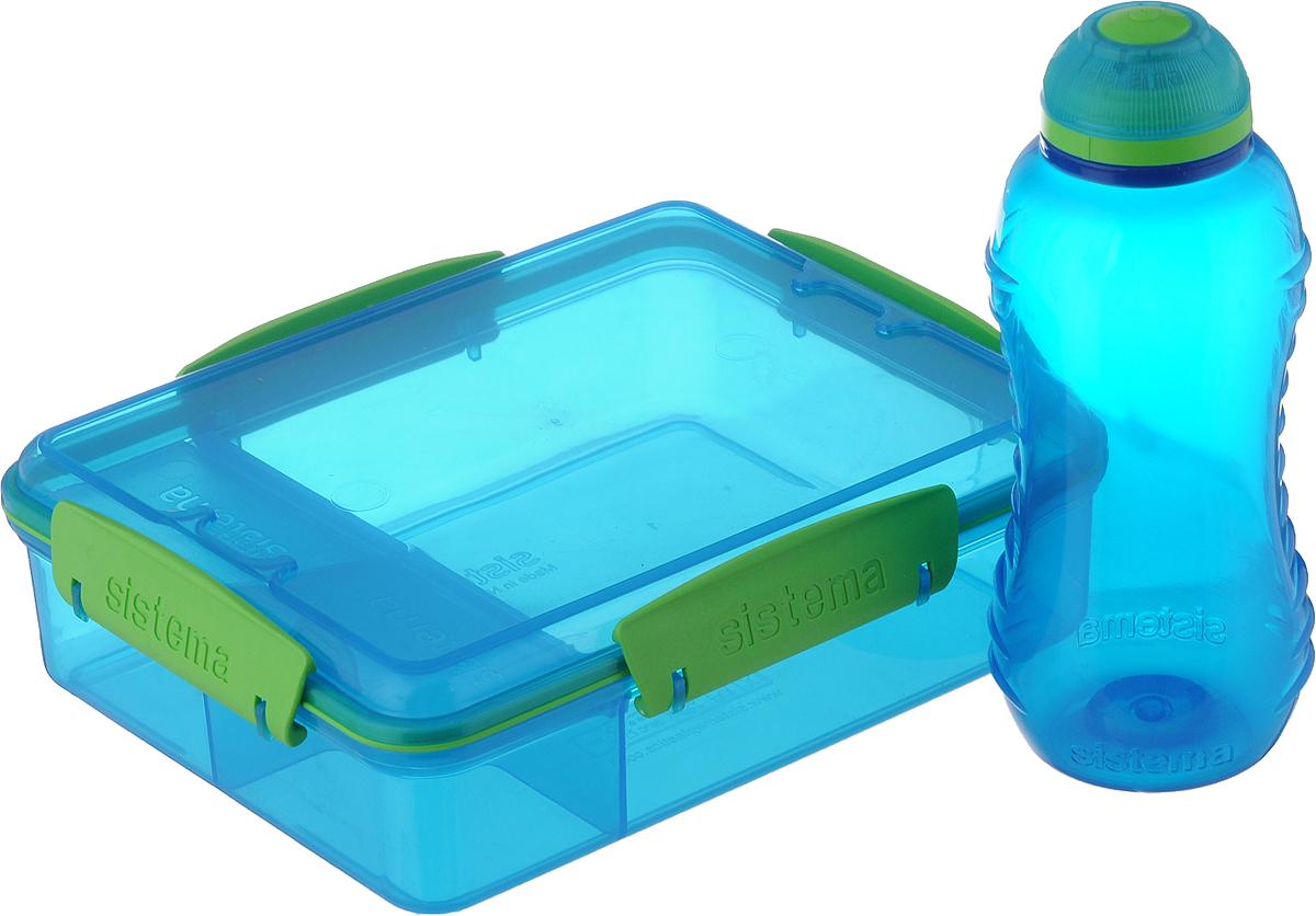 "Набор Sistema ""Lunch"": контейнер 975 мл, бутылка 330 мл, цвет: синий. 41575"