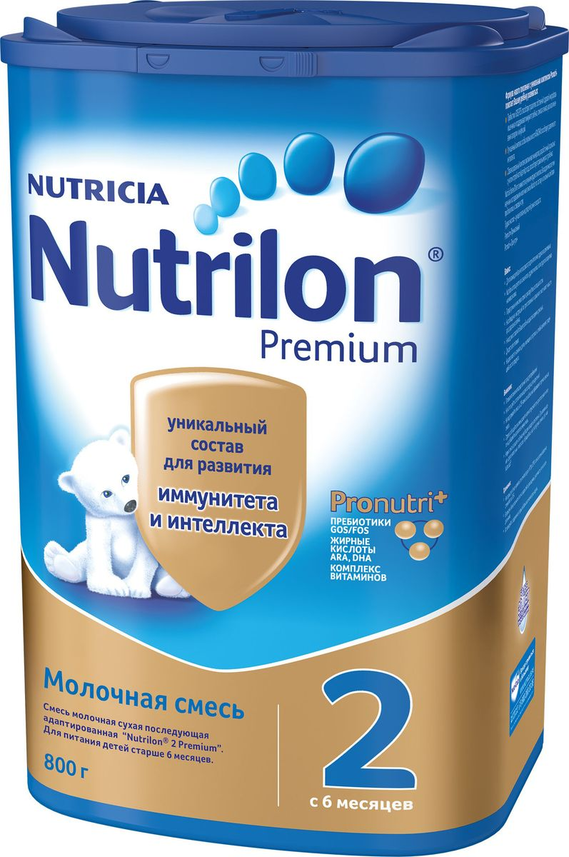 Молочная смесь Nutrilon Premium 2, 800 г nutrilon премиум 2 молочная смесь pronutriplus с 6 месяцев 800 г