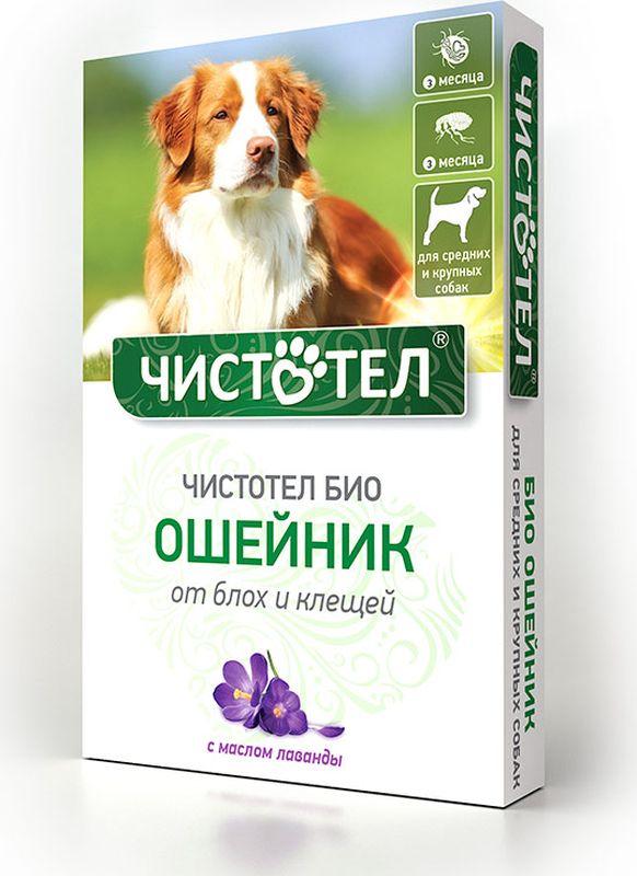 Ошейник Чистотел Био, с лавандой, для средних и крупных собак, от паразитов, 65 см капли чистотел био с лавандой для средних и крупных собак от паразитов 2 х 2 5 мл