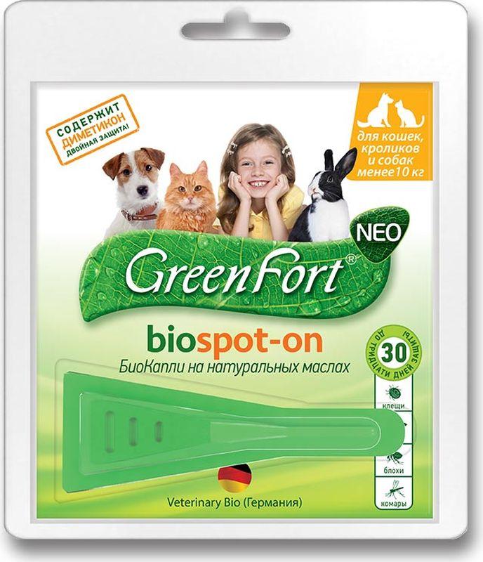 ошейники gamma биокапли для кошек БиоКапли GreenFort Neo для кошек, кроликов и собак до 10 кг, от паразитов, 1 мл