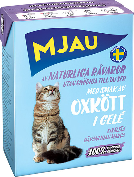 Фото - Консервы Mjau для кошек, мясные кусочки с говядиной в желе, 380 г консервы mjau для кошек мясной паштет с радужной форелью 380 г