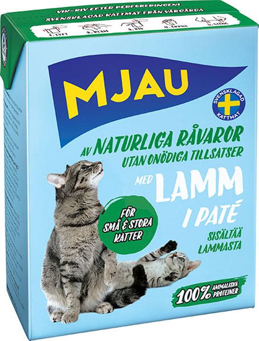 """Консервы """"Mjau"""" для кошек, мясной паштет с ягненком, 380 г"""