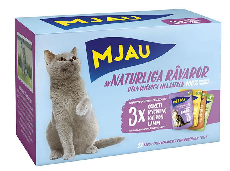 Консервы Mjau Мясной микс для кошек, мясные кусочки в желе, 12 шт х 85 г корм для кошек mjau мясные кусочки в желе с куриной печенью конс 380г