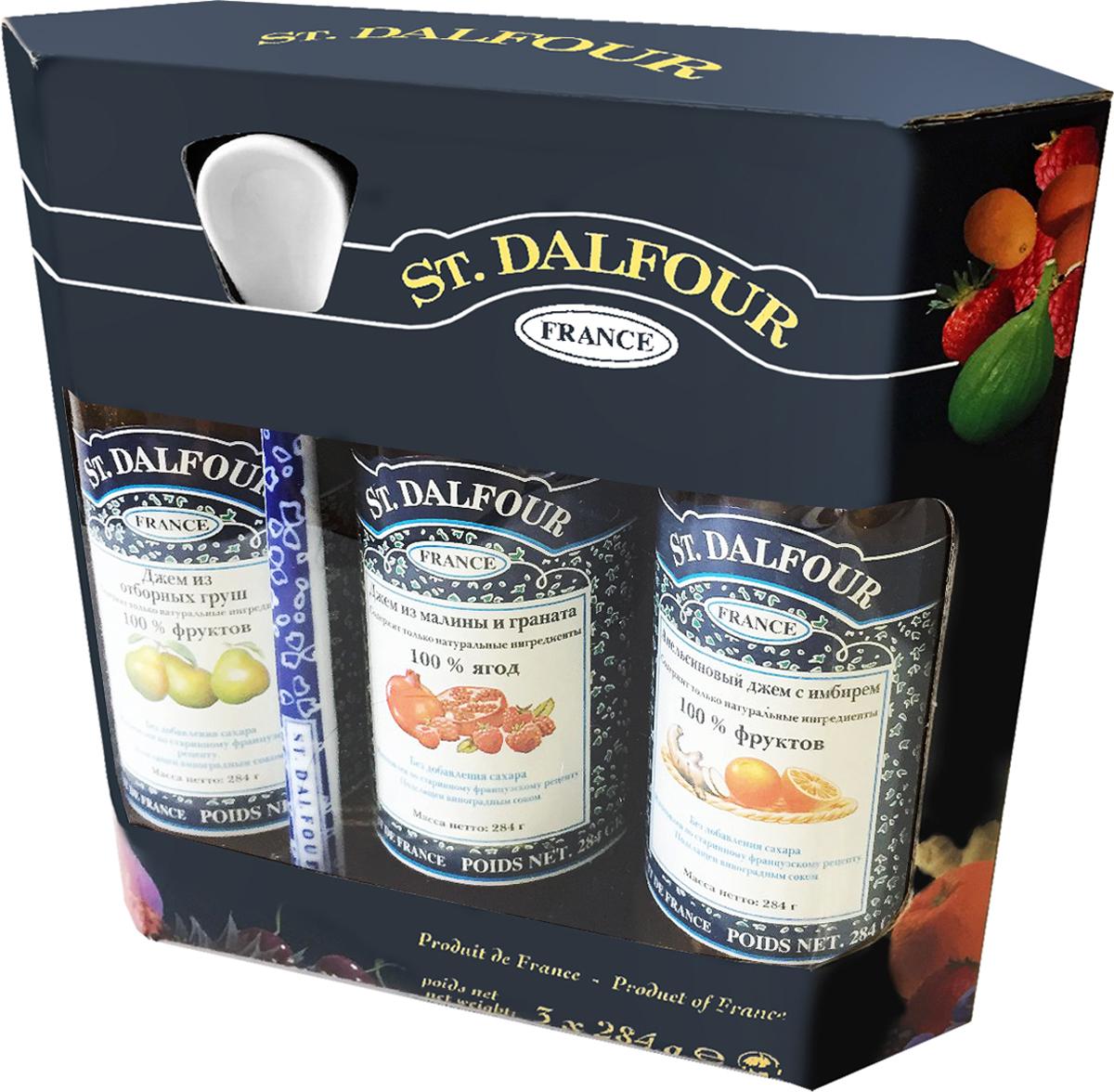 St. Dalfour подарочный набор 3 джема апельсин и имбирь, малина и гранат, отборная груша, 852 г