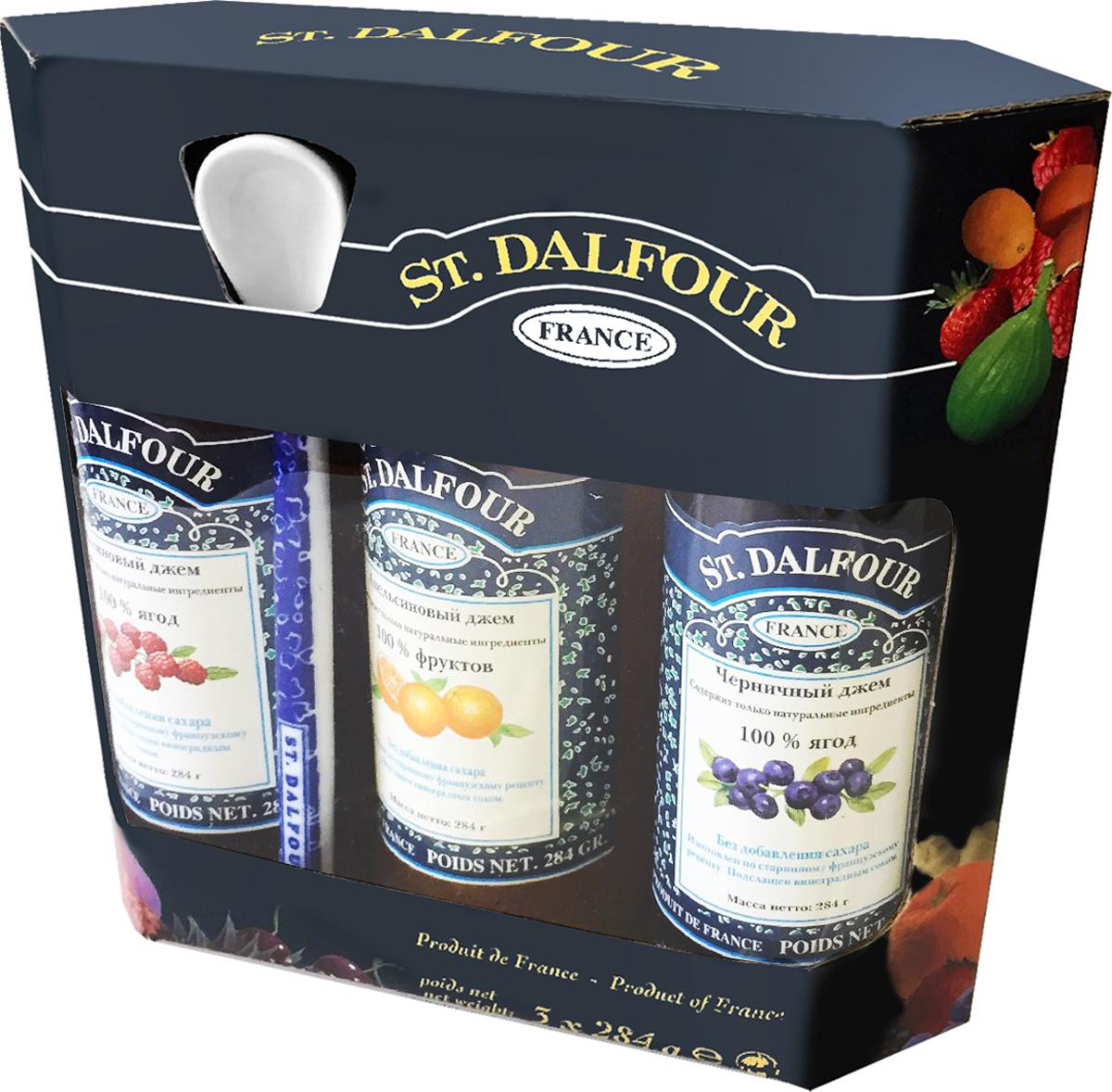 St. Dalfour подарочный набор 3 джема черника, малина, апельсин, 852 г