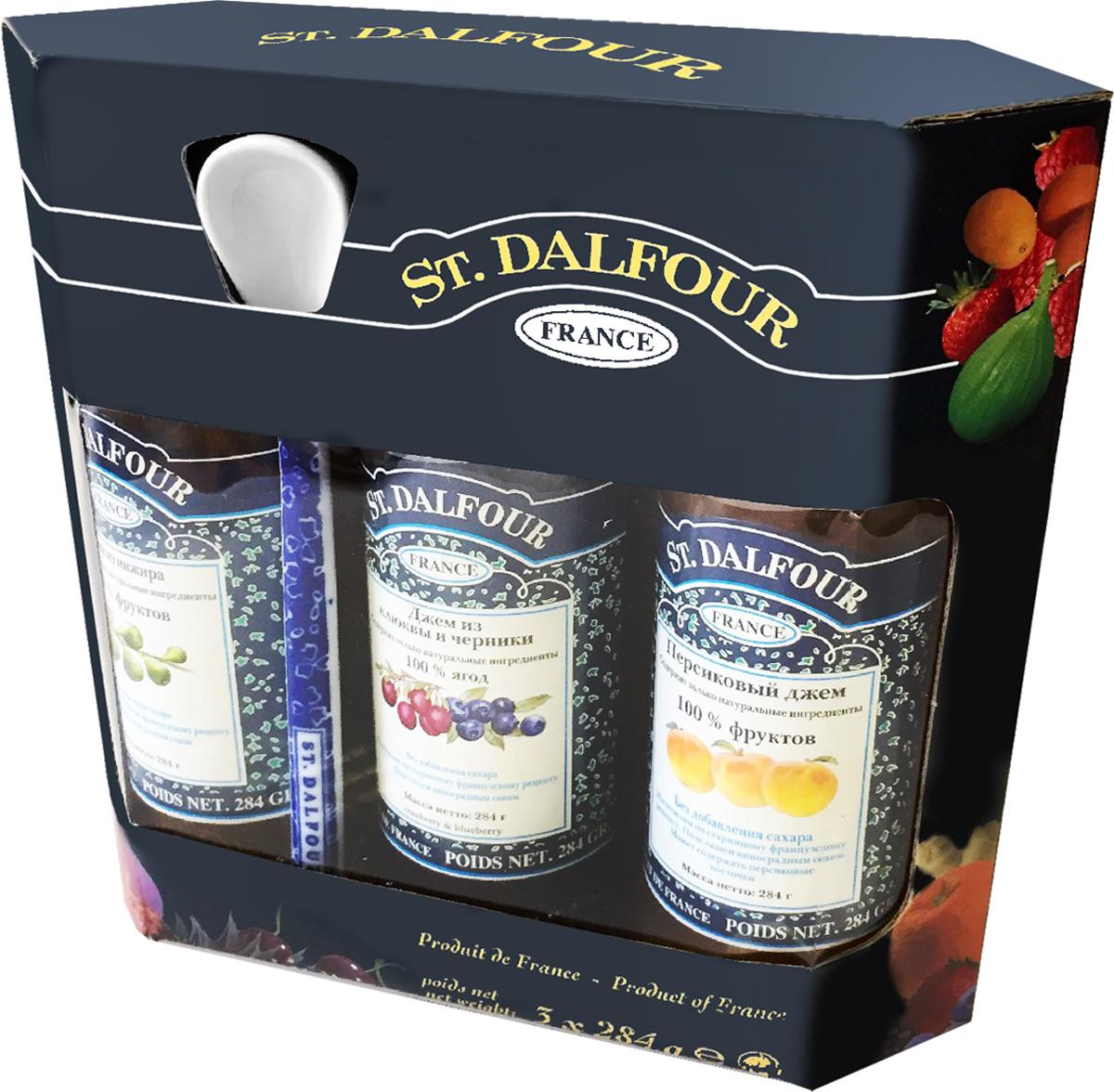 St. Dalfour подарочный набор 3 джема инжир, персик, клюква и черника, 852 г