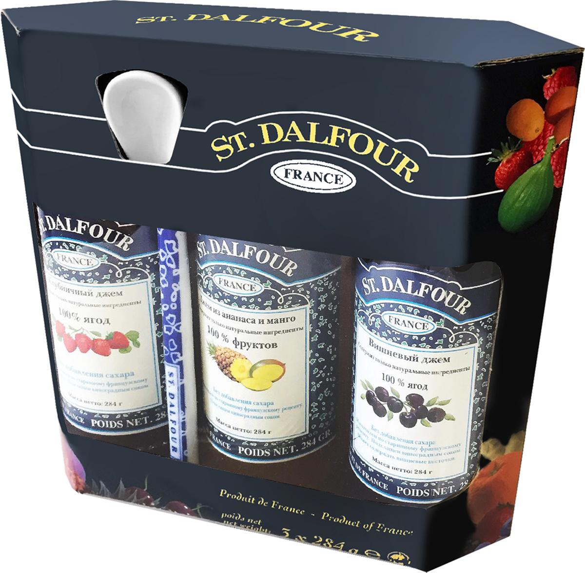 St. Dalfour подарочный набор 3 джема клубника, ананас и манго, вишня, 852 г