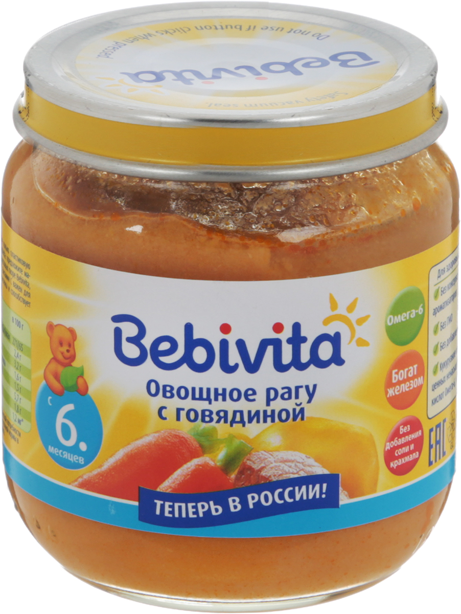 Bebivita пюре овощное рагу с говядиной, с 6 месяцев, 100 г