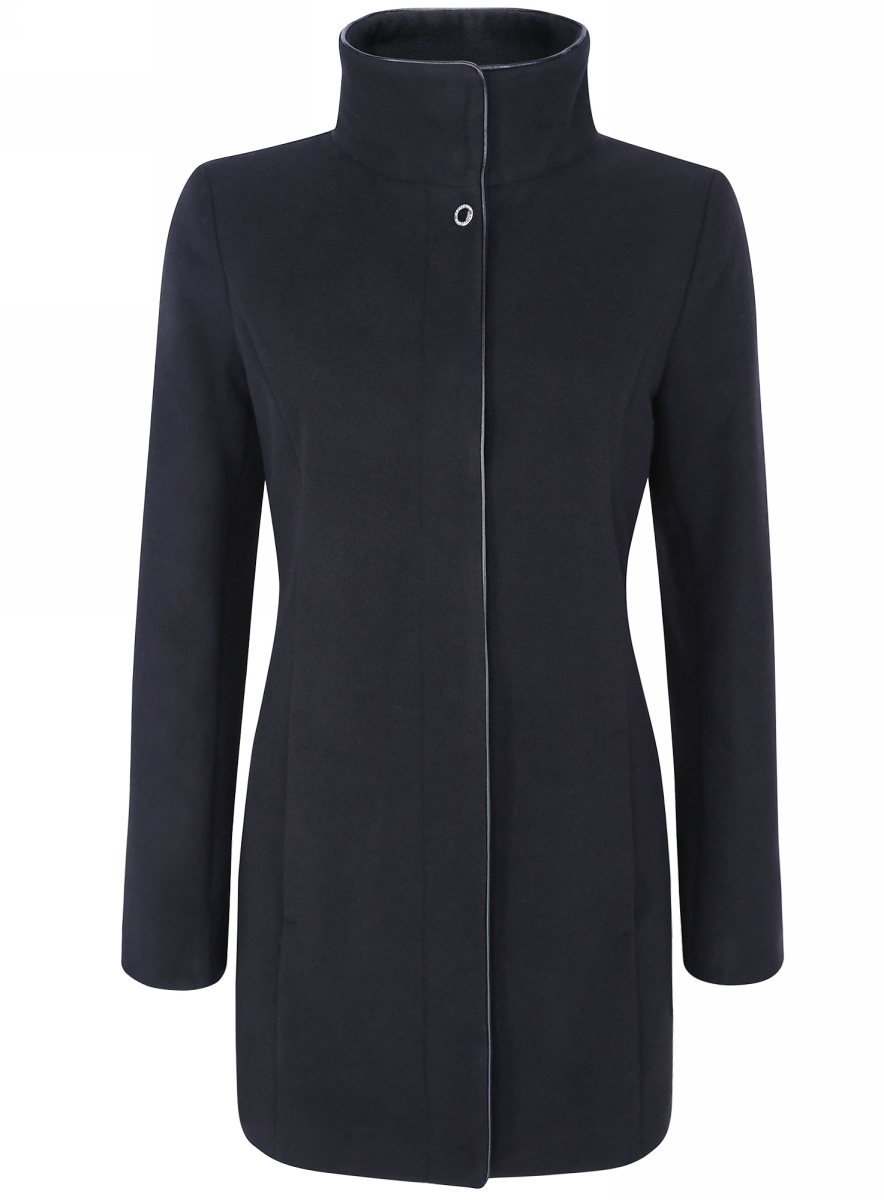 Пальто oodji пальто женское oodji collection цвет темно синий 20104020 1 43765 7900n размер 46 52 170