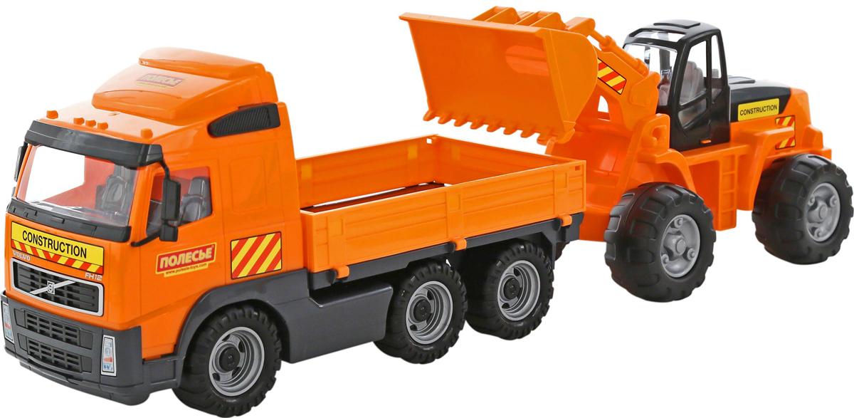 Полесье Грузовик бортовой Volvo и трактор-погрузчик, цвет в ассортименте