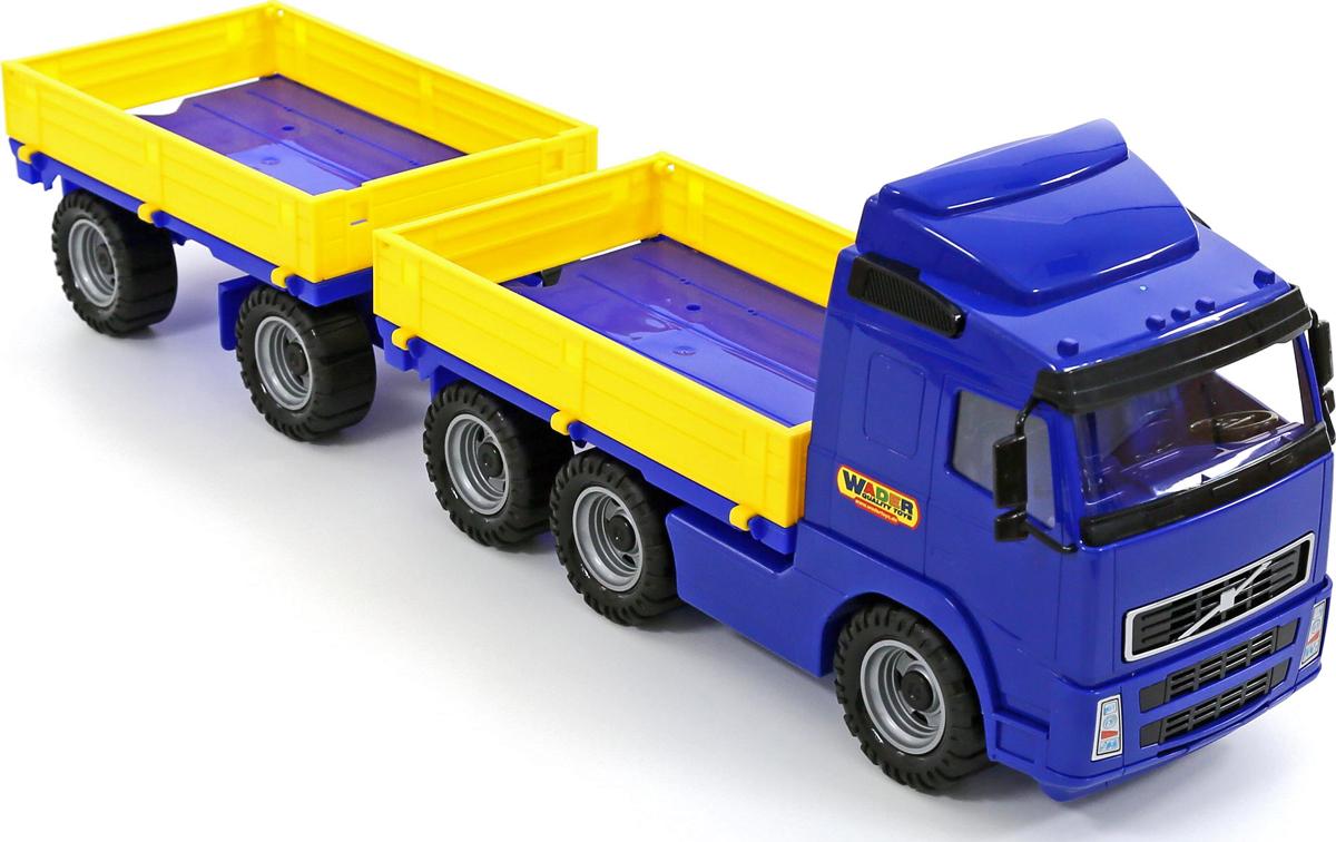 Полесье Грузовик бортовой с прицепом Volvo. 9722, цвет в ассортименте полесье грузовик бортовой тентовый volvo с прицепом 58294 цвет в ассортименте