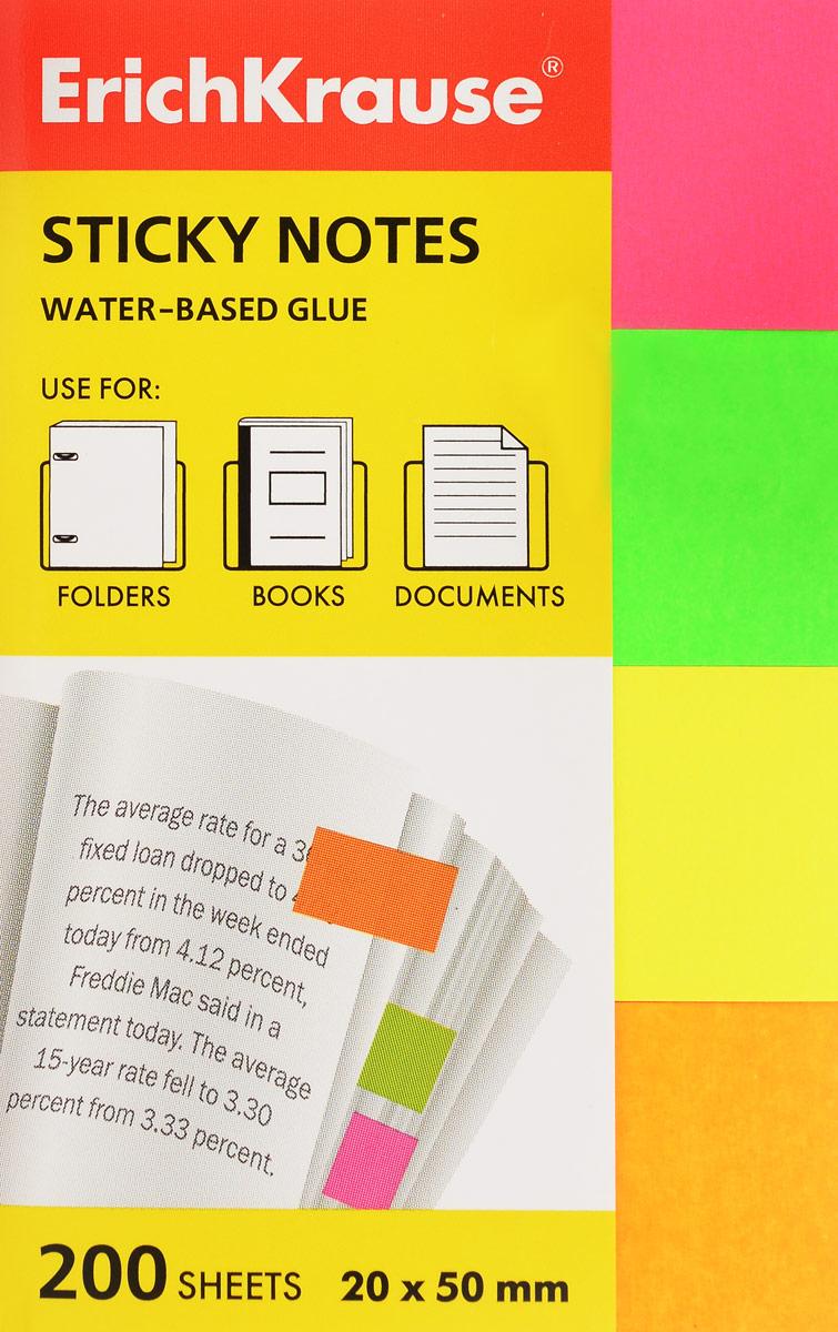 Закладки бумажные ErichKrause Neon, с клеевым краем, 20 х 50 мм, 200 листов, 4 цвета цены
