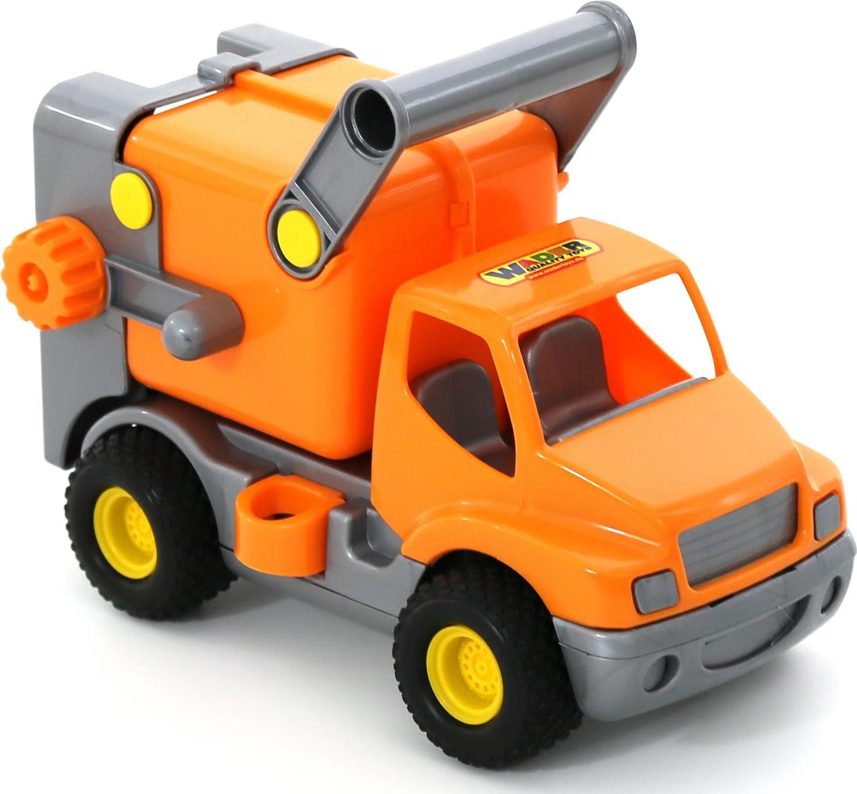 Полесье Коммунальная спецмашина КонсТрак цвет оранжевый44846Яркий коммунальный автомобиль Полесье КонсТрак, выполненный из прочного материала, отлично подойдет ребенку для различных игр. У автомобиля открываются люки и работает подъемный механизм для имитации процесса погрузки мусорных контейнеров. Мусоровоз снабжен ручкой для переноски кузова. Прорезиненные колеса автомобиля со свободным ходом обеспечивают игрушке устойчивость и хорошую проходимость. Крупный реалистично выполненный мусоровоз развлечет вашего малыша, поможет объяснить важность коммунальной службы и позволит самостоятельно заняться уборкой мусора.