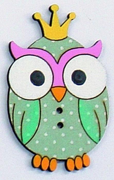Пуговицы декоративные Aurora Сова, цвет: зеленый пуговица декоративная aurora кошка цвет розовый au b4755