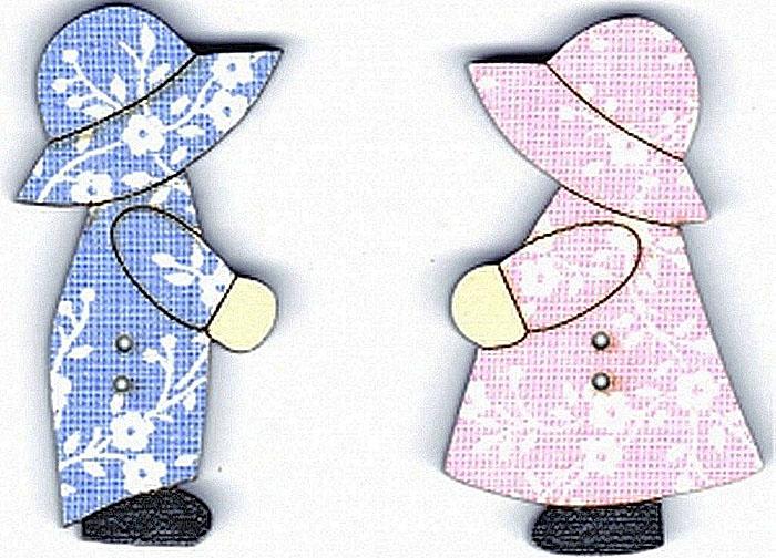 """Пуговицы декоративные Aurora """"Мальчик и девочка"""", цвет: голубой, розовый, 2 шт"""