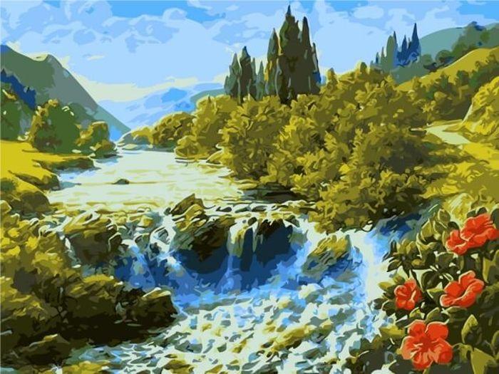 Набор для рисования по номерам Цветной Бурный поток, 40 х 50 см