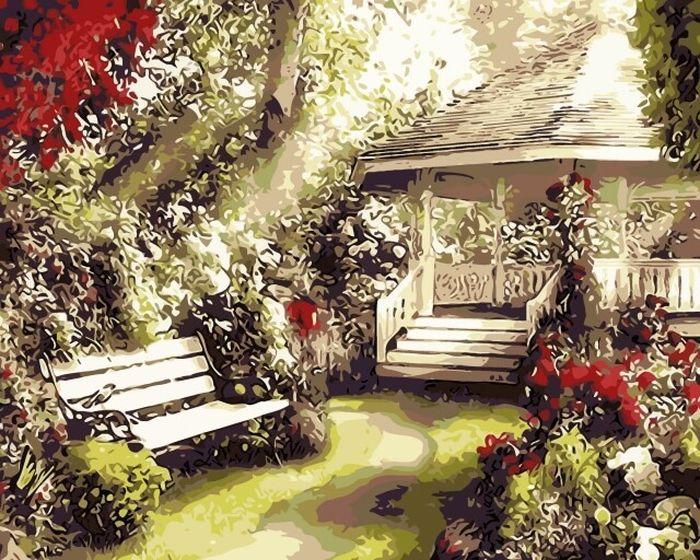 Набор для рисования по номерам Цветной Беседка в саду, 40 х 50 см