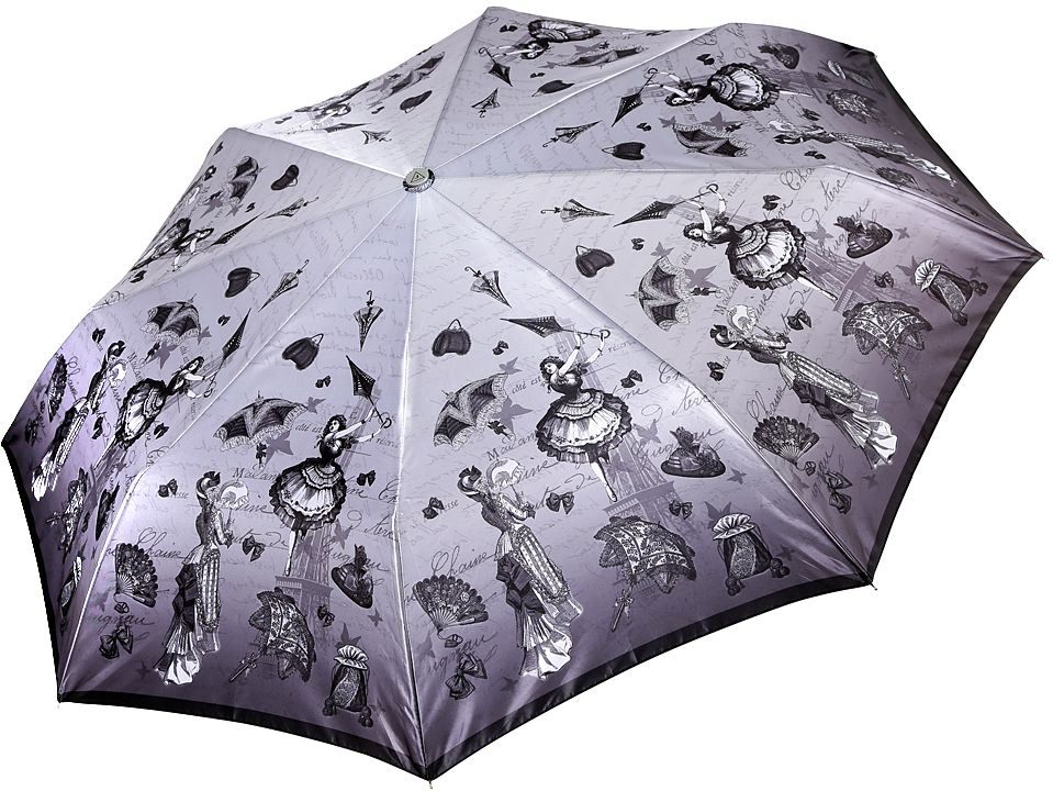 Зонт женский Fabretti, автомат, 3 сложения, цвет: серый. L-17117-4