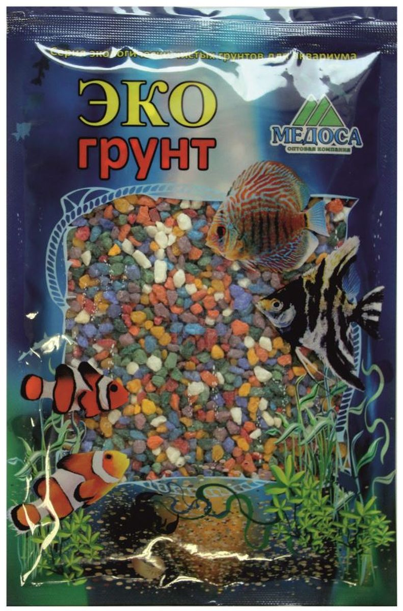Грунт для аквариума ЭКОгрунт, мраморная крошка, цвет: микс, 2-5 мм, 3,5 кг. г-1002 грунт для аквариума экогрунт мраморная крошка блестящая цвет синяя 2 5 мм 7 кг
