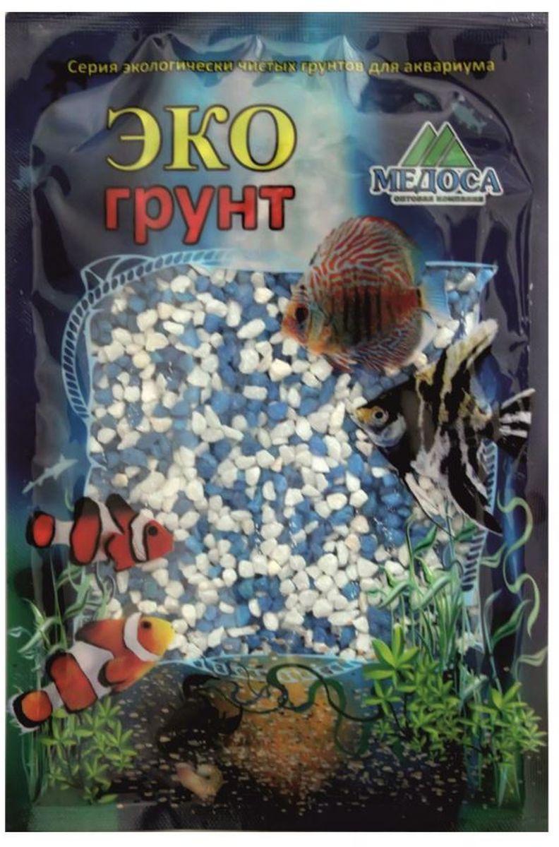 Грунт для аквариума ЭКОгрунт, мраморная крошка, цвет: белый, голубой, 2-5 мм, 3,5 кг. г-1012 грунт для аквариума экогрунт мраморная крошка блестящая цвет синяя 2 5 мм 7 кг