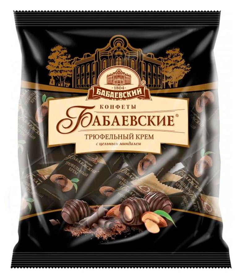 Бабаевские Трюфельный крем конфеты со вкусом трюфеля и целым миндалем в шоколадной глазури, 200 г бабаевский наслаждение конфеты с мягкой карамелью в шоколадной глазури 250 г